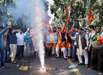 BJP party workers celebrating