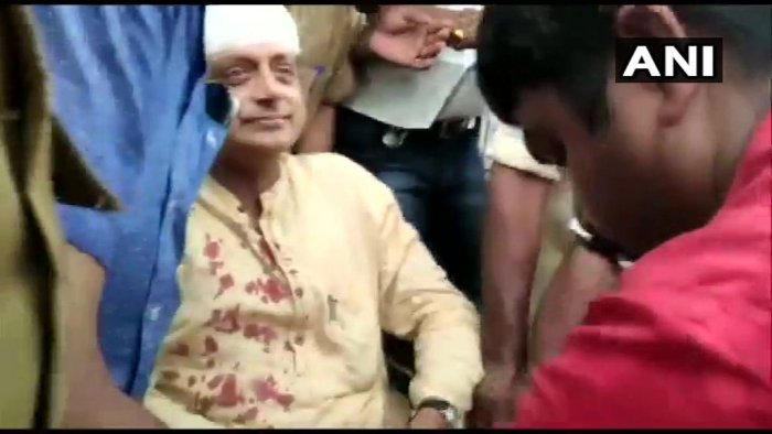 Shashi Tharoor injured during temple visit; receives 6 stitches on his head