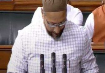 Asauddin Owaisi, Hyderabad MP, taking oath as Member of Parliament in 17th Lok Sabha