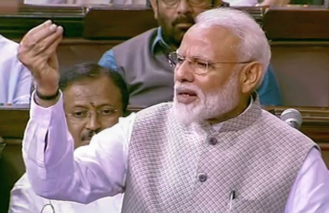 PM Modi in Rajya Sabha speaking on Motion of Thanks on President's Address