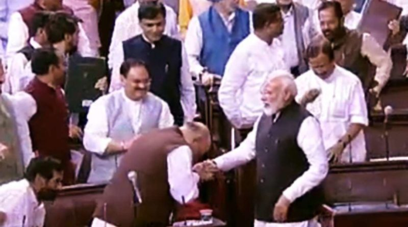 PM Modi congratulating HM Amit Shah on J&K Bill